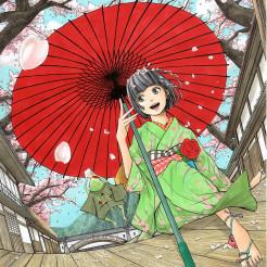 桜と蛙と傘が描きたかったので、描きました。